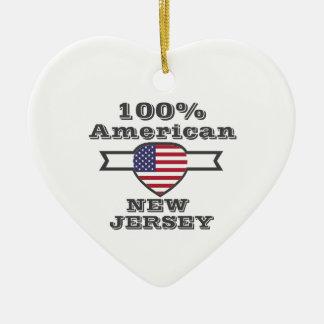100% American, New Jersey Ceramic Heart Ornament