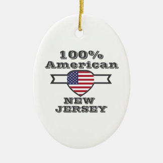100% American, New Jersey Ceramic Oval Ornament