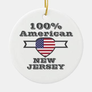 100% American, New Jersey Round Ceramic Ornament