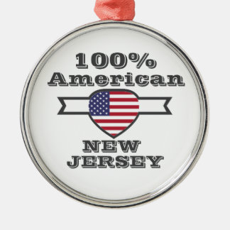 100% American, New Jersey Silver-Colored Round Ornament