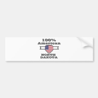 100% American, North Dakota Bumper Sticker