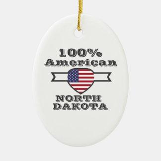100% American, North Dakota Ceramic Ornament