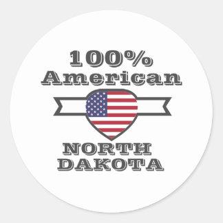 100% American, North Dakota Classic Round Sticker