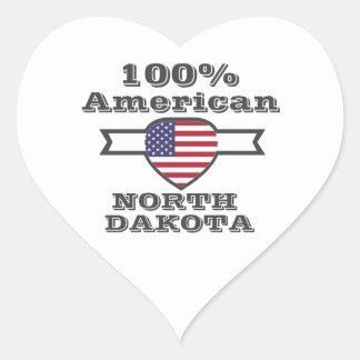 100% American, North Dakota Heart Sticker
