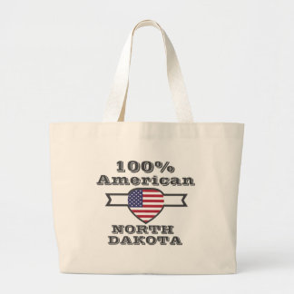 100% American, North Dakota Large Tote Bag