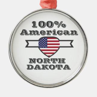 100% American, North Dakota Metal Ornament