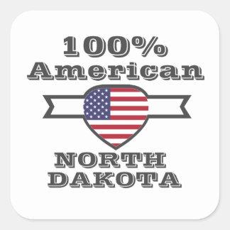 100% American, North Dakota Square Sticker