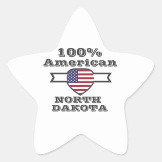 100% American, North Dakota Star Sticker