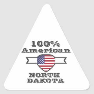 100% American, North Dakota Triangle Sticker
