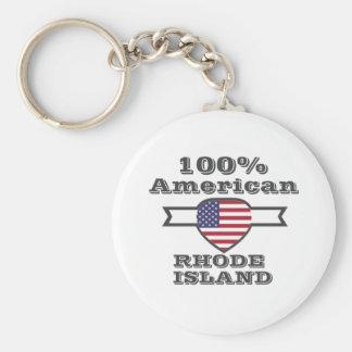 100% American, Rhode Island Basic Round Button Keychain