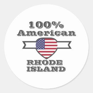 100% American, Rhode Island Round Sticker