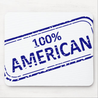 100 AMERICAN Rubber-stamp blue on white Mouse Pad