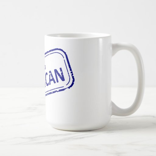 100% American Rubber-stamp blue on white Mugs