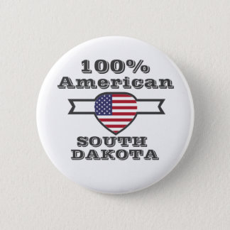 100% American, South Dakota 2 Inch Round Button