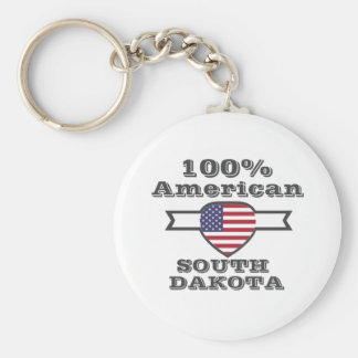 100% American, South Dakota Basic Round Button Keychain