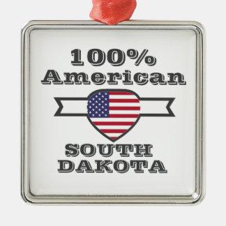 100% American, South Dakota Metal Ornament