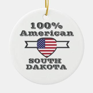 100% American, South Dakota Round Ceramic Ornament