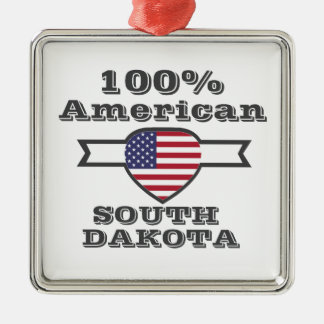 100% American, South Dakota Silver-Colored Square Ornament