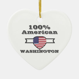 100% American, Washington Ceramic Ornament