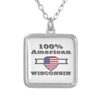 100% American, Wisconsin Silver Plated Necklace