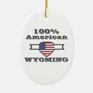 100% American, Wyoming Ceramic Ornament