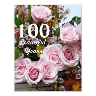 100 Beautiful Years!-Birthday Party/Pink Roses Card