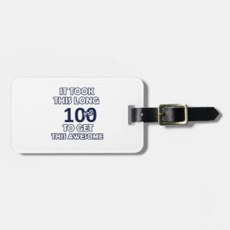 100 birthday design luggage tag