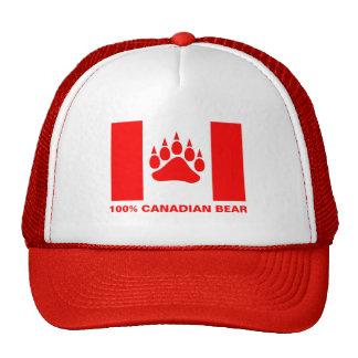 100% Canadian Bear Canadian Flag Red Bear Paw Trucker Hat