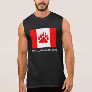 100% Canadian Bear Canadian Flag With Bear Paw Sleeveless Shirt