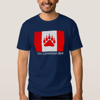 100% Canadian Bear Canadian Flag With Bear Paw Tee Shirt