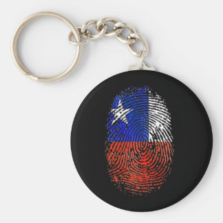 100% Chilean DNA fingerprint flag of Chile Basic Round Button Keychain