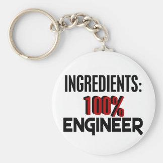 100% Engineer Basic Round Button Keychain