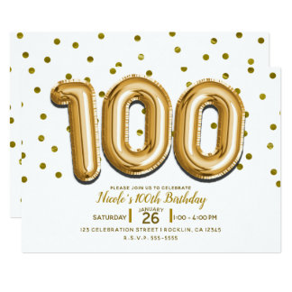 100 Gold Balloons & Confetti 100th Birthday Party Card