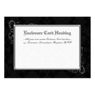100 Gothic Damask Wedding Enclosures Black & White Business Card Template