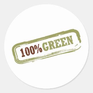 100% Green Sticker Round Sticker