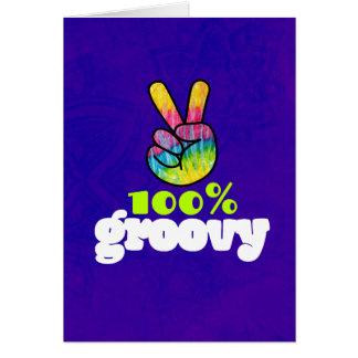 100% Groovy Rainbow Hand Peace Sign Birthday Card