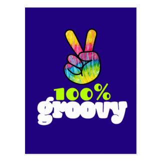 100% Groovy Rainbow Hand Peace Sign Postcard