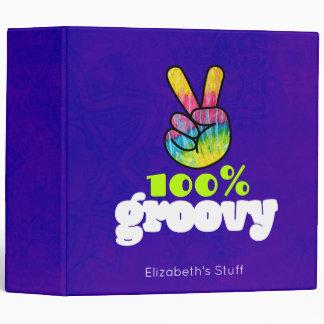 100% Groovy Rainbow Hand Peace Sign Vinyl Binders
