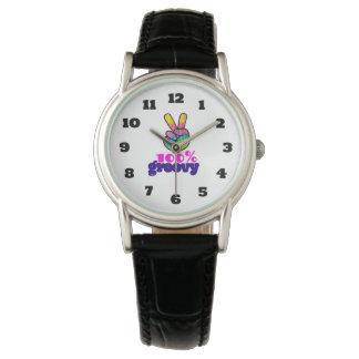 100% Groovy Rainbow Hand Peace Sign Wrist Watches