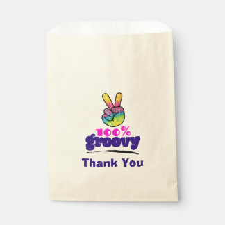 100% Groovy with Rainbow Hand Peace Sign Thanks Favour Bag