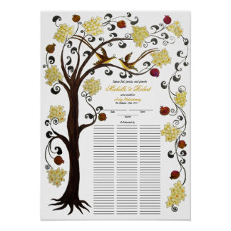 100 guests Quaker Wedding - Yellow, Tree of life Poster