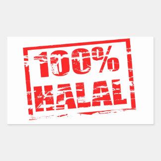 100% halal rectangle sticker