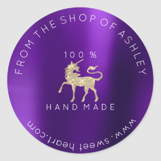 100 % Handmade Logo From Name Web Plum Unicorn Classic Round Sticker