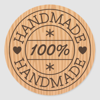 100% handmade or product name, stamp on wood round sticker