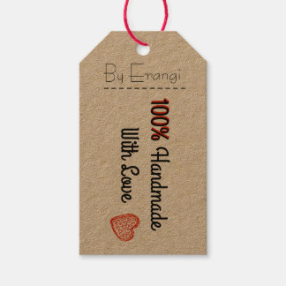 100% Handmade with Love - Vintage style gift tag Pack Of Gift Tags