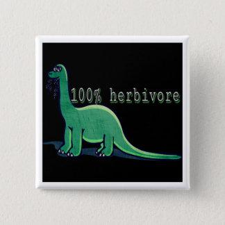 100% herbivore dinosaur 2 inch square button