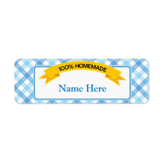 100% Homemade Food Label - Blue Return Address Label