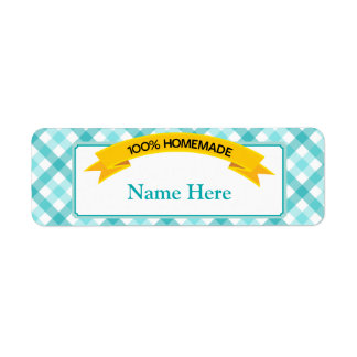100% Homemade Food Label - Teal Return Address Label
