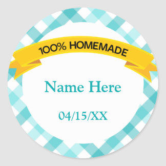 100% Homemade Food Label - Teal Round Sticker
