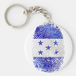 100% Honduran flag of Honduras DNA fingerprint Basic Round Button Keychain